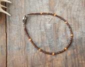 mens tortoiseshell brown and orange bracelet teen or tween boy beach surfer style skinny fit