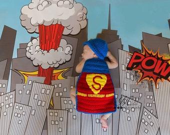 Crochet Superman Cape, Super Hero Outfit, Newborn Superman Cape, Superhero Props