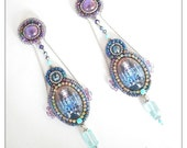 Blue tower - Extra-long blue and purple earrings with chandelier glass cabochons, bead embroidered earrings