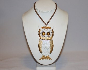 1970s Huge Moveable White and Gold Owl Pendant Necklace