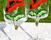 Painted Wine Glasses With Red And Black Flowers And Matching Crystal Wine Charms, Mothers Day Gift, Birthday Gift