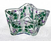Hand Painted Star Shaped Bowl With Shamrocks, Irish Gifts, St. Patricks Day, March Birthday Gift, Home Decor