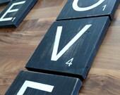 Scrabble Wood Wall Blocks - Distressed Wood Letter Signs - Letter Wall Signs-3x3- 5x5 - 7x7 - 9x9 - 11x11 - Custom Signs - Custom Wall Decor