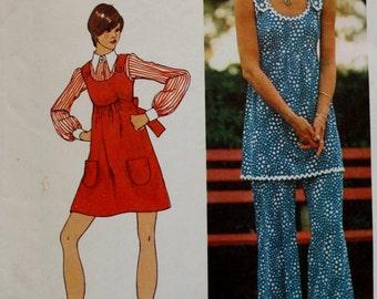 Simplicity 5520 / 1970s Mini Jumper / Tunic / Pants / Vintage Sewing Pattern /UNCUT  /Bust 32