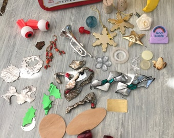 Altered Art & Mixed Media Supplies for Crafting and Found Object Art, Wood Pieces, Plastic Trinkets and Embellishment Lot, Cork, Altoids Tin