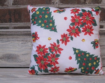 Vintage Christmas Hankie Pillow with Quilt Backing