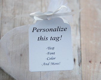 """Custom Gift Tags ~ Personalized Hang Tags ~ 10 tags ~ 2 1/2"""" ~ Multiple Colors to Choose From!"""