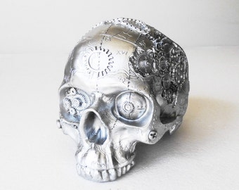 Halloween Skull, Human Skull, Steampunk, Halloween, Steampunk Skull, Skull, Silver Skull, Skull Decor, Steampunk Decor, Human Replica Skull,