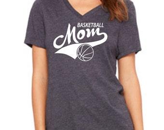 BASKETBALL MOM, sports shirt, womens shirt, v neck tee, gift for mom, basketball shirt, basketball tee for mom