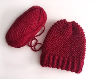 Chunky Poinsettia knitted beanie women hat