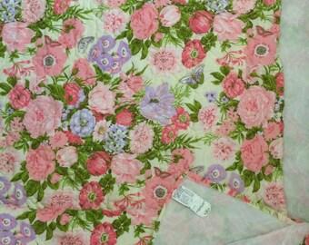 Flower twin bedspread cotton quilt bedcover flowers butterflies 70s boho linens brady bunch decor