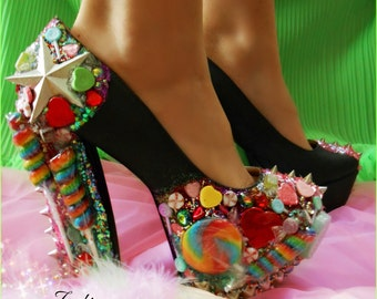 "Studded ""Lollipop Guild "" Candy Spiked Platform Pump Heels"