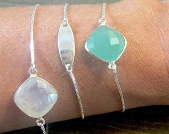 Silver Gemstone Bracelet | Adjustable bracelet | Moonstone Bracelet | Chalcedony Bracelet |  Gift for Her | Silver Bracelet