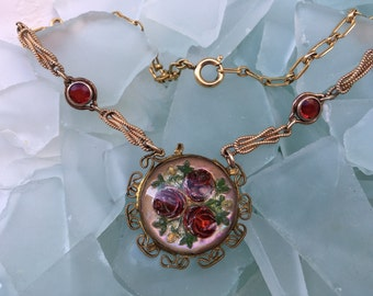 """ROSES ARE RED Vintage Assemblage Steampunk Upcycled Gold Filled and Brass Buckle with Red Roses and Red Rhinestone Leaves Necklace- 20"""""""