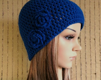Crochet Hat, Womens Hat, Royal Blue Beanie, Crochet Wool Flower, Winter Wool Hat, Student Beanie, Australia