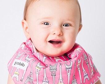 "Modern Bib (Pink Eiffel Tower) All in One Scarf & Bib ""Scabib"" TM for babies or toddlers"