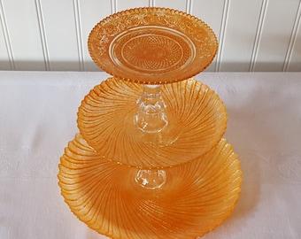 Orange 3 tier cupcake stand / Orange cake stand / dessert tower / Orange Wedding cupcake tower / Baby shower / Birthday cake stand