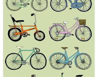 A4 Bikes collection print - Hello Velo green