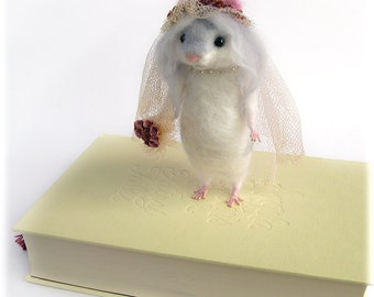 Hamster Miss Havisham Bride Needle Felted Art Doll MADE TO ORDER Charles Dickens Literature Rodent Model Needle Felting
