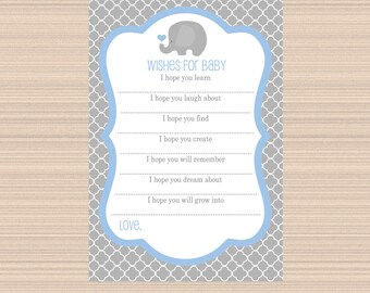 Wishes for Baby, Elephant Baby Shower, Grey, Light Blue A036