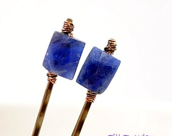 Blue Bobbies, Pair of Blue Lapis Bobby Pins, Small Hair Pins