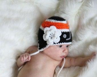 BABY GIRL HOCKEY Black Orange Hockey, Hockey Baby Girl Hat, Crochet Hockey Baby, Black Orange Hockey, Baby Hockey Knit Hat, Newborn Hockey