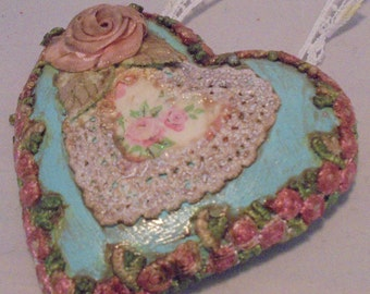 Upcycled Romantic Shabby Chic Floral Love Heart Mini Plaque