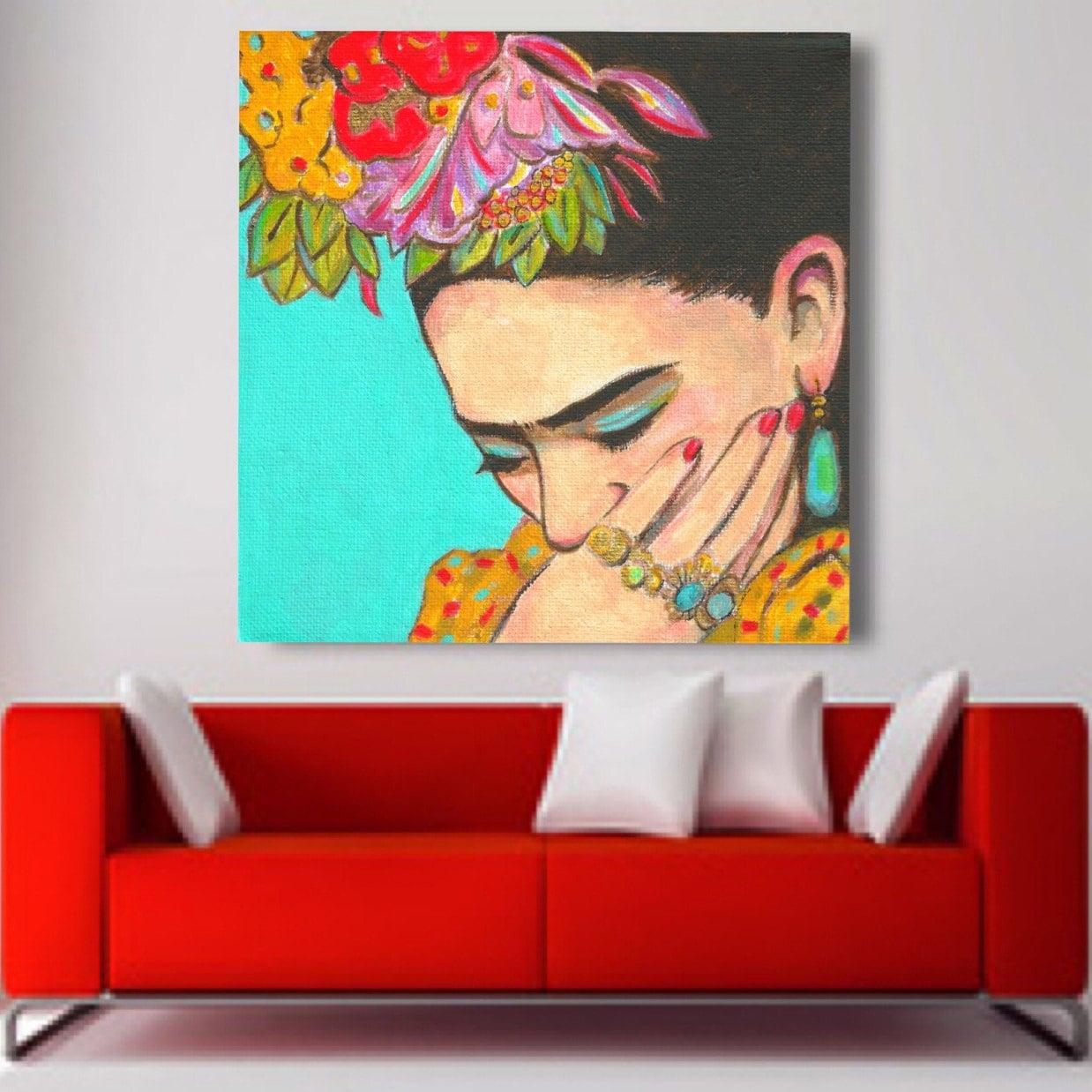 30 off today frida kahlo print canvas gallery wrap mexican for Cuartos decorados de frida kahlo