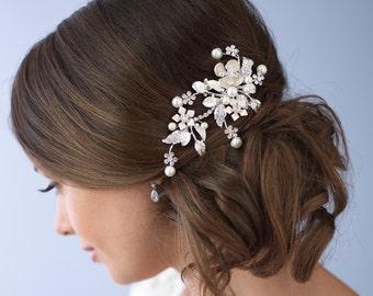 Floral Pearl Hair Clip, Rhinestone Bridal Clip, Floral Hair Clip, Rhinestone Hair Clip, Pearl Hair Clip, Hair Comb, Hair Accessory ~TC-2272