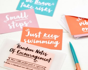Gift for friend - Random Notes of Encouragement - set of notecards - notelets with envelopes, card set, colourful notecards, witty phrases