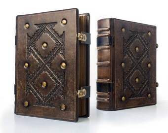 """Large Leather Journal 8"""" x 10"""" with genuine lizard leather details - unique journal, special gift"""