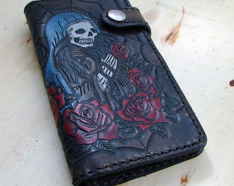 Cow leather wallet style biker with santa muerte and a spider web