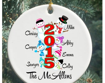 Personalized Christmas Ornaments with Snowman Family of 7 and more