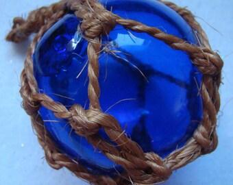 Vintage Glass, Cobalt Blue Fishing Net Float # 13019007