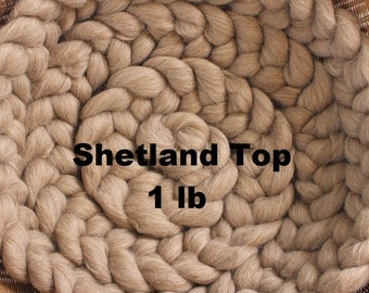 1lb Fawn Shetland Wool Undyed Top Roving for Spinning Dyeing Batts Handspinning Fiber Wool