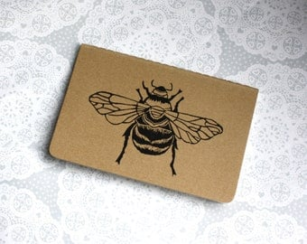 Bumble bee note book | Honey bee | Moleskine | Cahier Journal | Lined pages | Lino print | Handmade | Pocket size |
