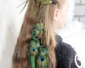 "Long Green Feather Hair Extension ""Summer Dance"" Green Feather Hair Clip Tribal Feather Hair Extension Boho Peacock Feather Hair Clip"