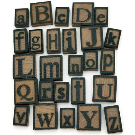 Laser Cut Supplies-26 Wooden Letter Press Set / Alphabet -Brooch Supplies- Little Laser Lab Sustainable Wood Products