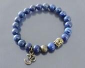 Mens spiritual bracelet Lapis bracelet Om bracelet Buddha bracelet Natural lapis mala with brass accents Wrist mala beads Third eye chakra