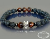 Red tiger eye bracelet w Sterling Silver dragon head bead & black lava Dragon bracelet Men mala bracelet  Zen buddhist bracelet Gift for him