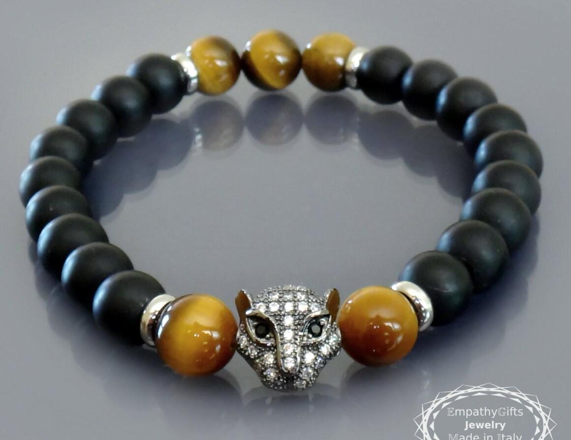 black panther bracelet mens black onyx bracelet gold tiger eye