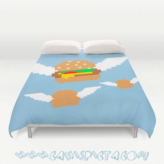 Burger 8 bit food bedding duvet cover pixelated bed king queen for 8 bit room decor