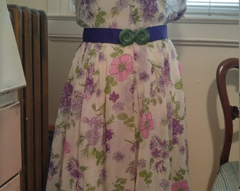 Vintage 1950s L'Aiglon floral spring dress, M to L