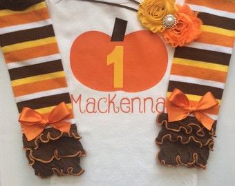 BABY girl 1st Birthday outfit - Fall birthday party - pumpkin birthday party - baby girl fall outfit - 1st birthday fall theme