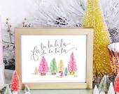 Modern Christmas Decoration - Fa La La Print - Fun Holiday Art - Holiday Print - Christmas Decor - Modern Christmas Print
