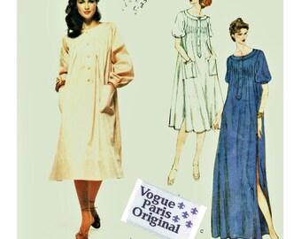 70s Vogue Paris Original Pattern 1905 w LABEL GIVENCHY Caftan Pintuck Maxi or Dress Sz 10 Uncut FF Rare Haute Couture Designer Sewing Supply