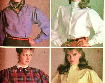 Retro McCall's Pattern 8657 Brooke Shields Long Sleeved Blouse Sz 12 Uncut FF Gathered Puff Sleeve Blouse w Lined Yoke Detail Sewing Supply