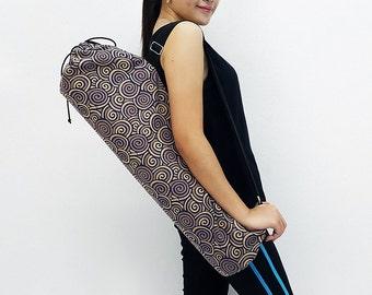 Handmade Yoga Mat Bag Yoga Bag Sports Bags Tote Yoga Sling bag Pilates Bag Pilates Mat Bag Thai Cotton Yoga Bag Women bag Swirl Navy Blue