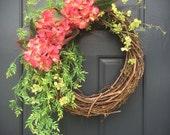 Spring Hydrangea Wreath, Pink Hydrangeas, Pink Wreaths, Spring Door Decor, Spring Trends, Mother's Day Gift, Spring Wreaths, Hydrangea Decor