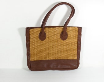 Italian Leather Woven Bag - Vintage Italian Leather Tote - Pool Bag Beach Bag Market Bag Workout Bag
